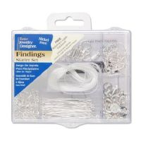 Bright Silver Jewelry Finding Starter Kit 178 pieces