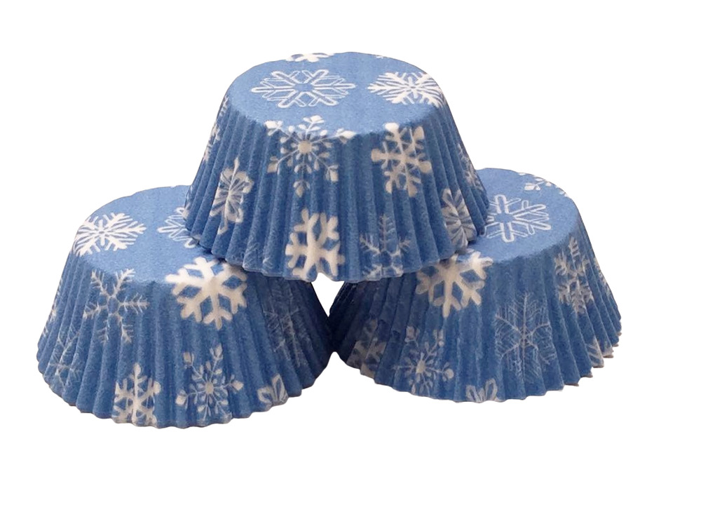 48 Blue Snowflake Cupcake Liners Standard Size Baking Cups