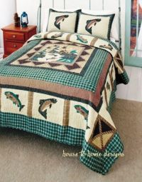 FISHING ** King ** QUILT SET : LOG CABIN FISHERMAN LODGE