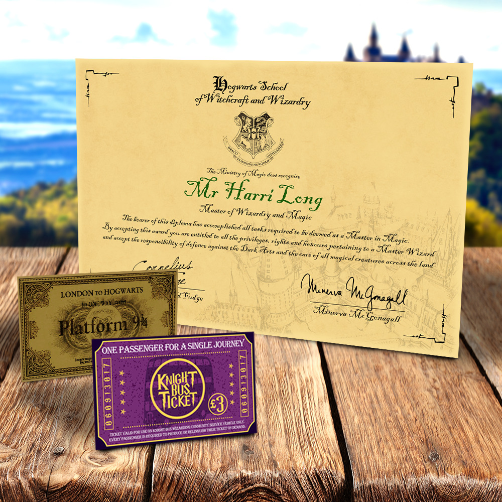 Harry Potter Hogwarts Diploma Certificate Any Name Ideal
