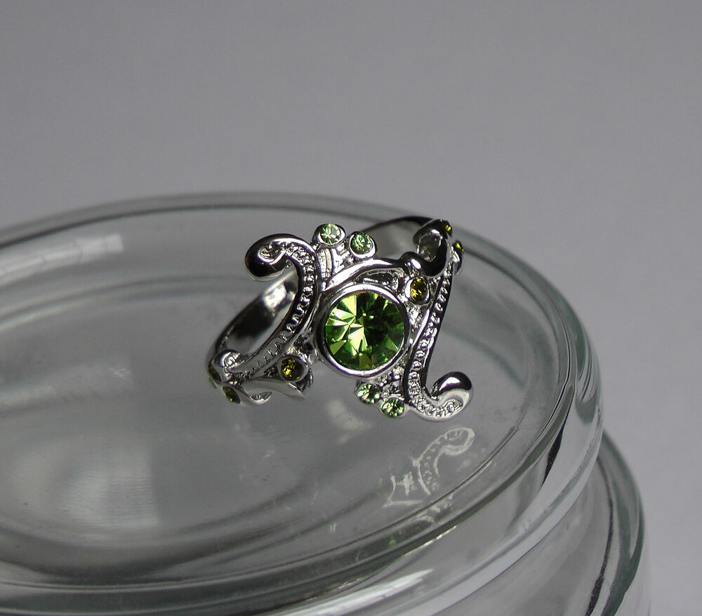 Harry Hogwarts Slytherin House Ring Green Crystal Silver
