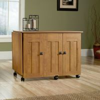New Sauder Sewing Craft Storage Cabinet Cart Table, Amber ...