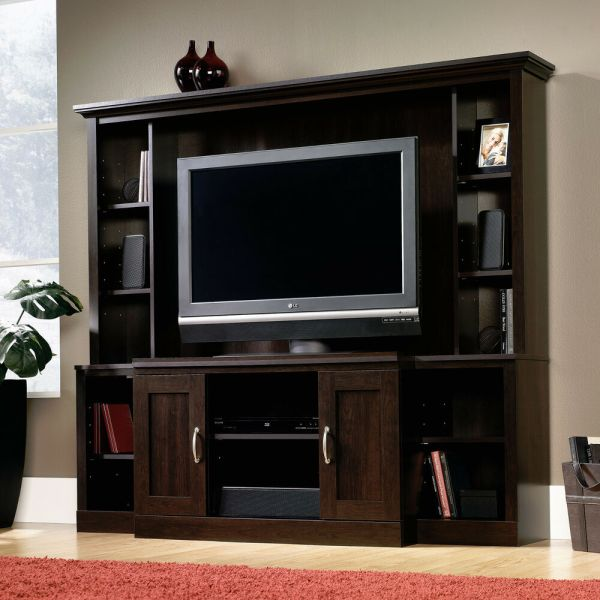 Sauder Cinnamon Cherry Entertainment Center Tv Stand Wall System