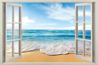Home Decor Art Vinyl 3d Window New Beach Mural Wall Decals