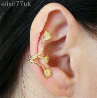 UK Gold Triple Leaf 3 Leaves Ear Cuff Wrap Upper Helix ...