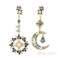 Great Choice Star Sun Moon Crystal Rhinestone Stud Dangle