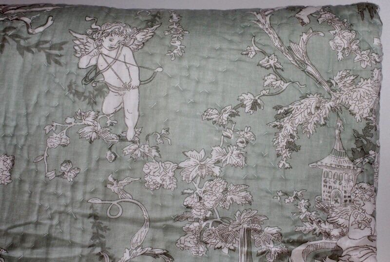 French Toile Shabby Chic Throw Quilt Rug Blanket Cherubs