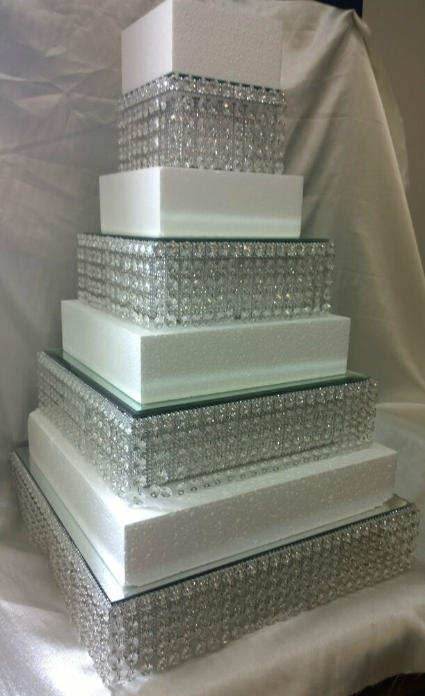 Crystal Diamante Wedding Cake Stands Stacked Tiers In