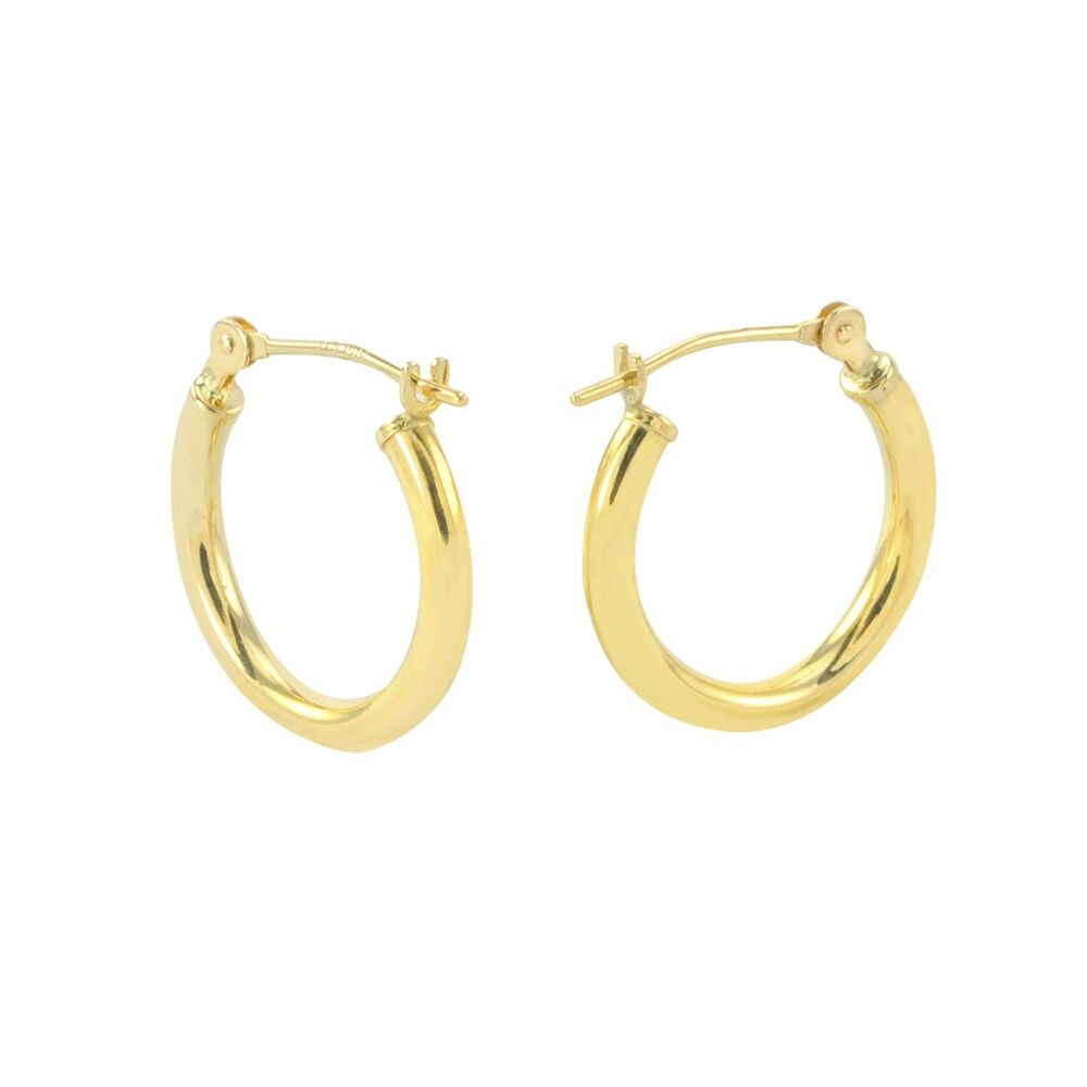 14k Yellow Gold Hoop Earrings 14mm Small Latch Post Hoops