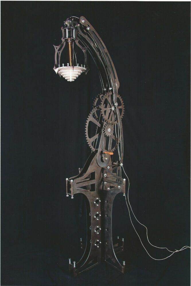 steampunk style giant steel mechanical lamp with tall base