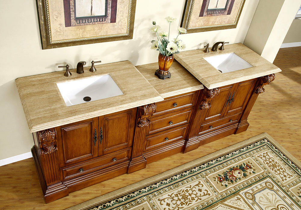 95 Large Bathroom Double Sink Vanity Travertine Top Bath Furniture Cabinet 907T  eBay