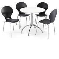 Dining Set Round White Table and 4 Black Chairs Chrome ...
