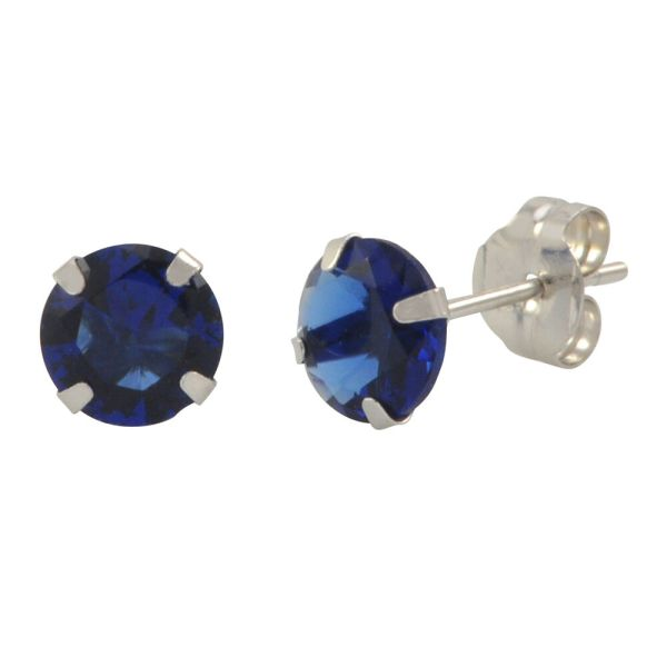 Blue Sapphire Cubic Zirconia Stud Earrings 14k White Gold Birthstone Cz