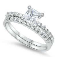 Princess Cut Solitaire Cz Wedding Set .925 Sterling Silver ...