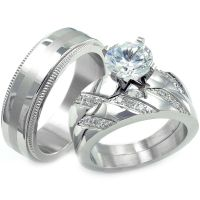His Hers 3 pcs Womens Engagement Stainless Steel & Mens ...