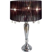 Elegant Designs Hanging Crystals Sheer Shade Table Lamp