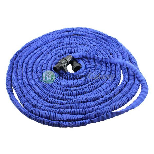 Deluxe 100 Feet 100ft Expandable Flexible Garden Lawn Water Hose Nozzle Blue