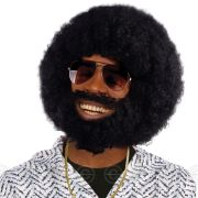 mens black afro wig with facial