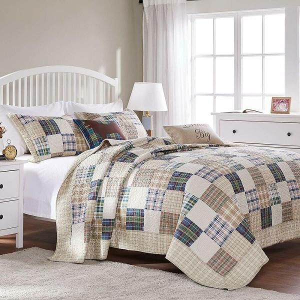 Brown Madras Plaid Twin Full Queen King Quilt Set