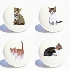 Kitchen Cabinets Ebay Diy Cabinet Four Cats Kittens Home Decor Ceramic Knobs Drawer ...