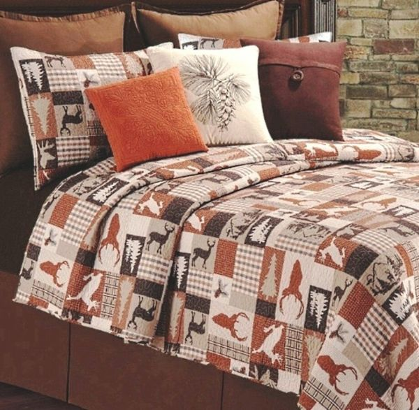 Hunter Lodge Full Queen Quilt Set Brown Plaid Deer Cabin Mountain Comforter