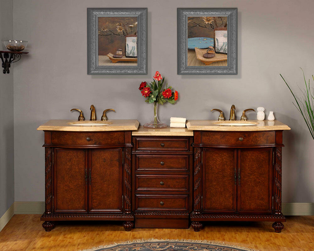 84inch Bathroom Travertine Top Double Sink LEDLighted