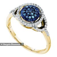 blue diamond .25-carat 10K gold halo engagement wedding ...
