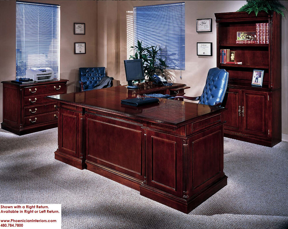Executive L Shaped Desk with Overhang CHERRY and WALNUT