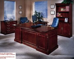 Executive L Shaped Desk with Overhang CHERRY and WALNUT ...