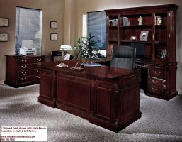 Executive U Shaped Desk with Overhang CHERRY and WALNUT ...