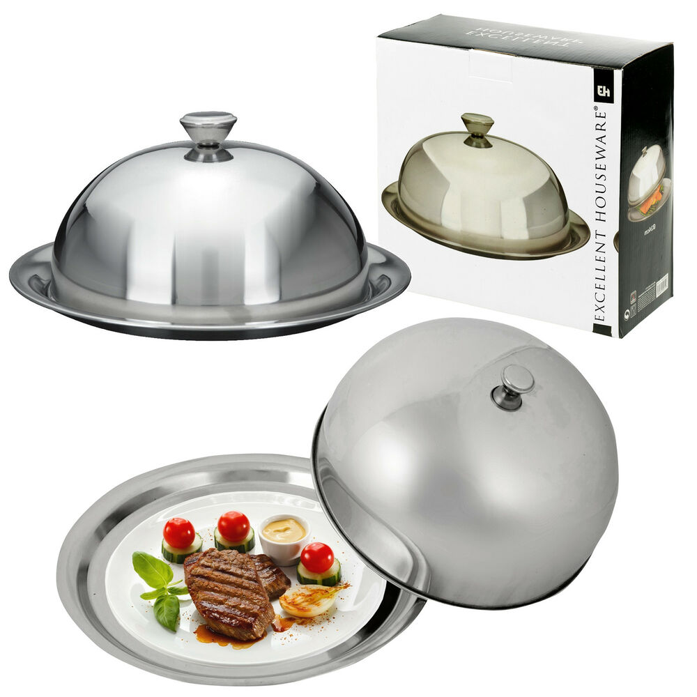 Stainless Steel Cloche Food Cover Dome Serving Plate Dish Dining Dinner Platter  eBay