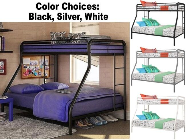 Twin Over Full Size Metal Bunk Bed Beds Heavy Duty Sturdy