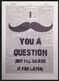 Moustache Quote Print Vintage Dictionary Page Wall Art