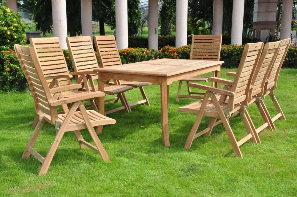 "9-Piece Outdoor Teak Dining Set: 83"" Rectangle Table, 8"