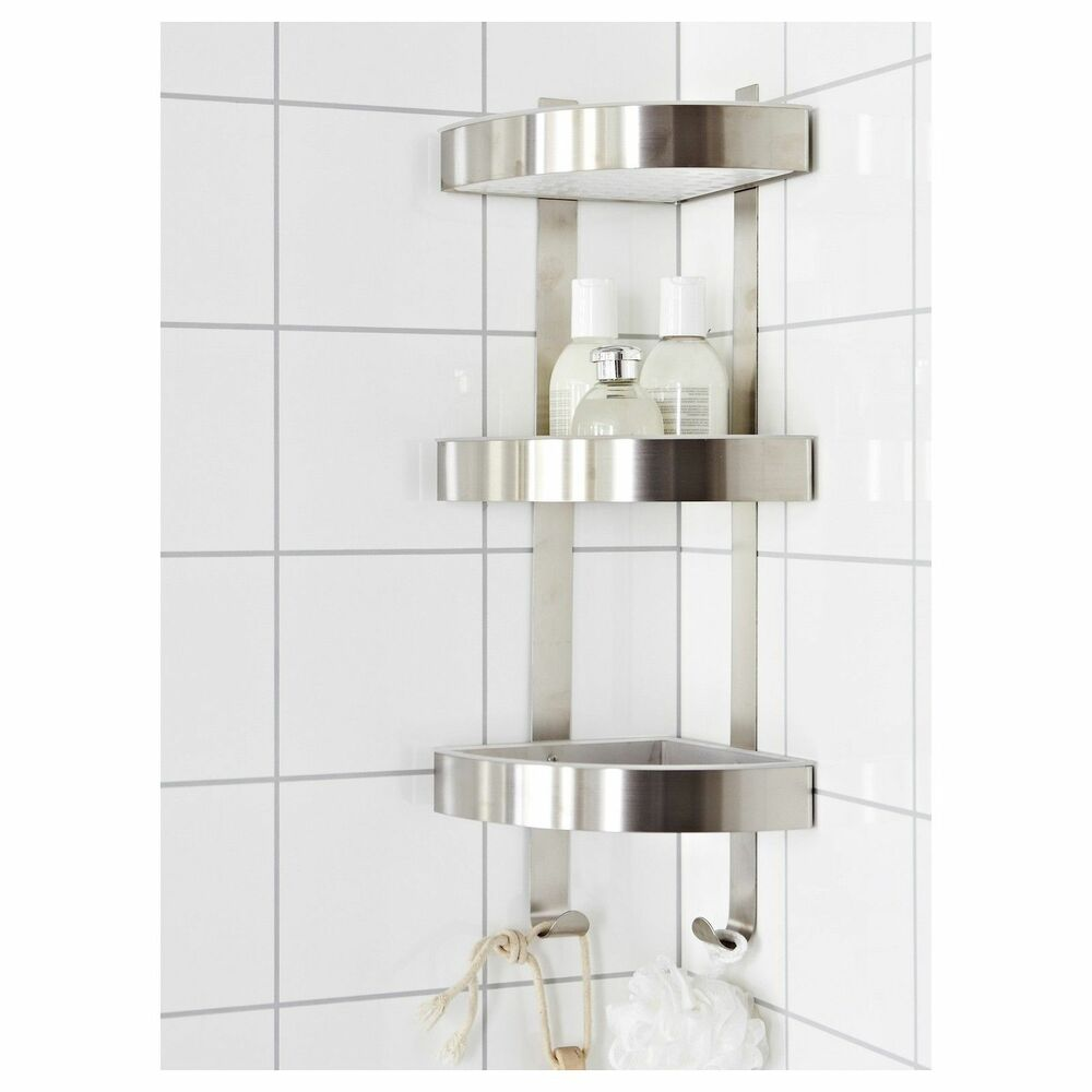 RUST RESISTANT STAINLESS STEEL 3 TIER BATHROOM CORNER WALL SHELF CADDY GRUNDTAL  eBay