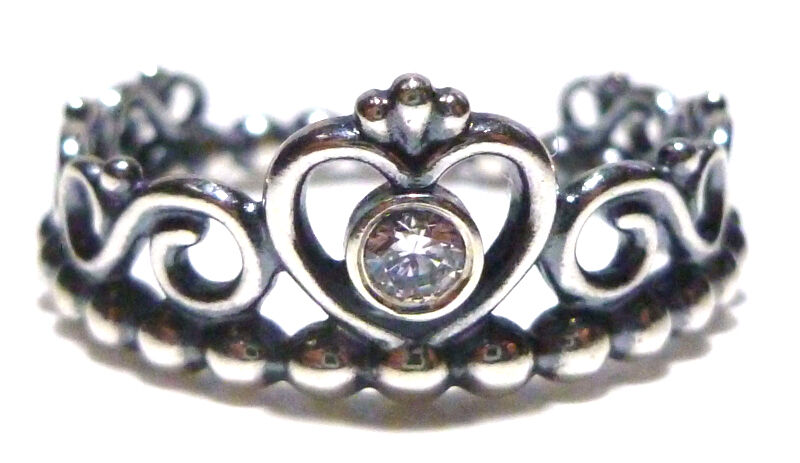 NEW PANDORA STERLING SILVER ORNATE BEAD BAND CROWN HEART