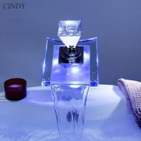 LED Bathroom Sink Faucet Vessel Waterfall Glass One Hole ...