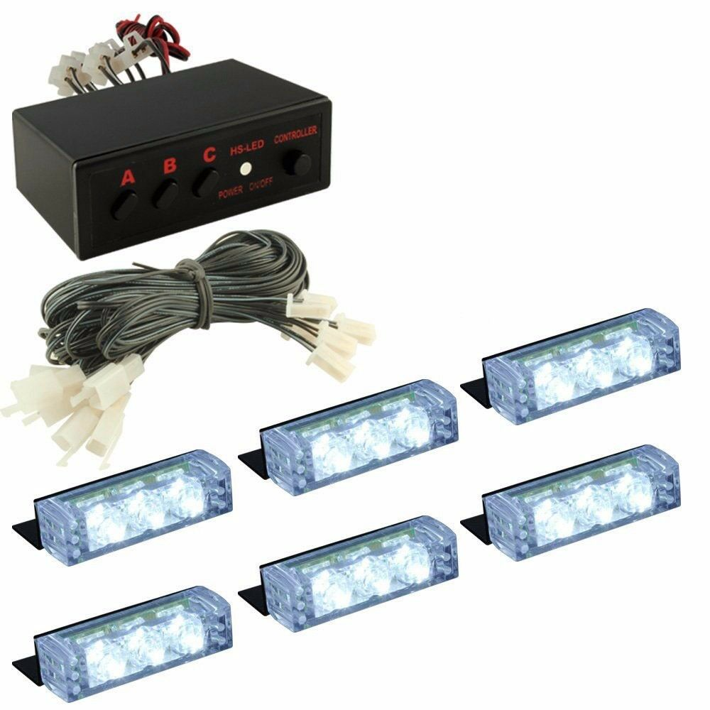White 18 LED Emergency Vehicle Car Strobe Flash Lights