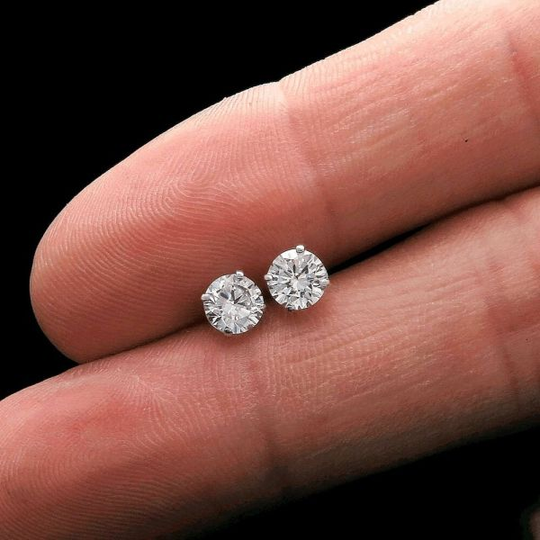 1ct Cut Brilliant Solitaire Earrings 14k White Gold