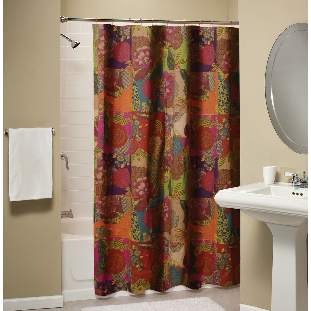 JEWEL RED SHOWER CURTAIN  MOROCCAN BOHO FLORAL EXOTIC PRINT  eBay
