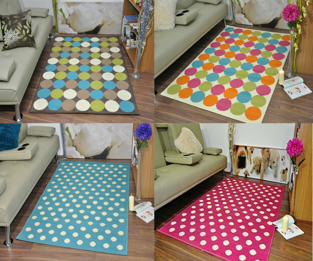 Extra Large Funky Modern Soft Circle Spotted Mat Area Rugs