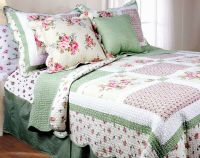 PINK ROSE Twin Single QUILT SET : GREEN GINGHAM SHABBY ...