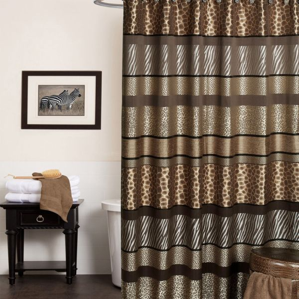 Exotic Animal Print Shower Curtain And Hooks Set Separates