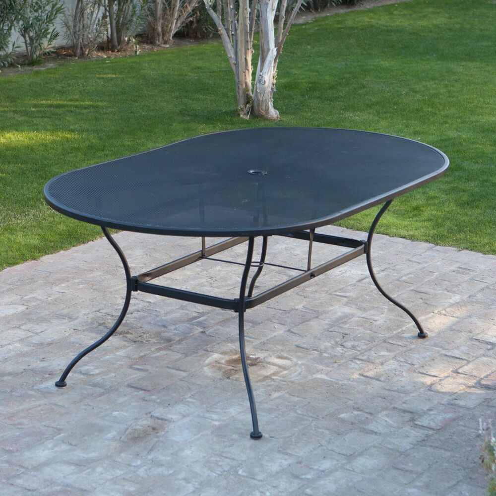 Large Patio Table Black Mesh Wrought Iron Poolside Deck
