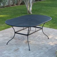 Large Patio Table Black Mesh Wrought Iron Poolside Deck ...