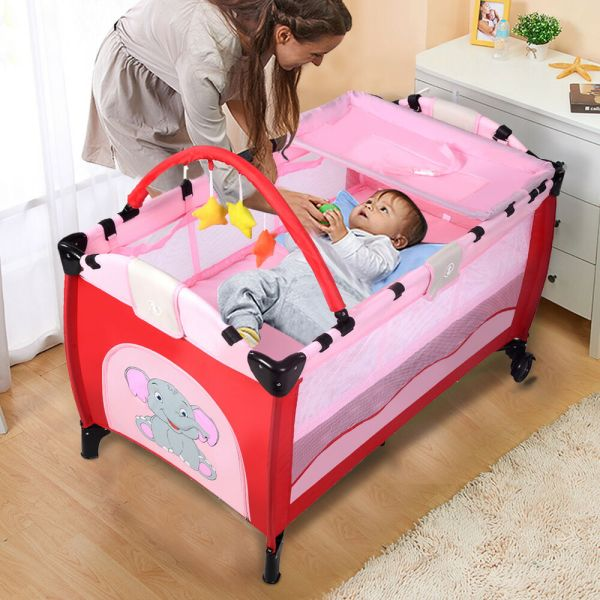 Infant Baby Travel Bed Play Pen Child Bassinet Playpen Entryway Mat 2 In 1