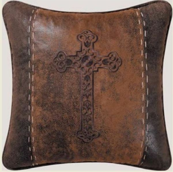 Brown Faux Leather Pillow