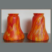 PAIR VINTAGE ART DECO MARMOREAN BELGIAN GLASS LIGHT SHADES