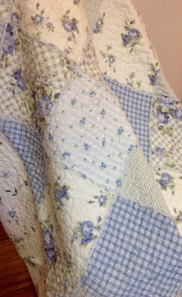 Shabby Chic French Country Throw Quilt Rug Blanket Blue
