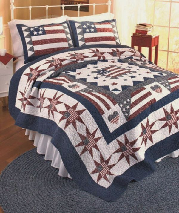 American Flag King Quilt Set Red White Blue